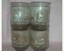 Vintage Libbey Mary Gregory Style Tawny Juice Glasses, Set of 4, Little Boy Fishing, Boy, Fisherman, Rocks, Glass Set, Libbey, Tawny