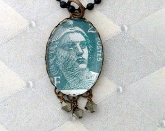 Vintage Postage Stamp Jewelry: Marianne 2 Pendant Necklace