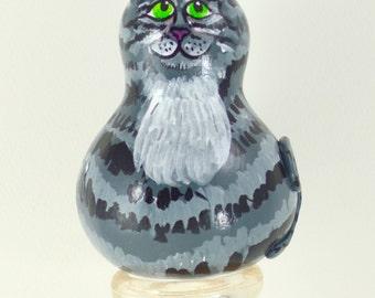 Gourd Kitty Grey Tabby Cat Art Sculpture novelty gift, Handmade, Hand painted