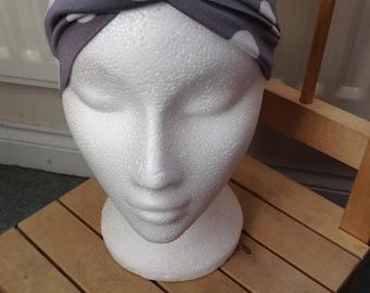 Grey and white polka dot silky twisty turban retro rockabilly headband