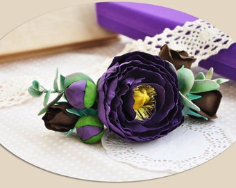 purple Flower purple hair accessory flower hair piece purple flower barrette peony flower hair Floral hair clips aubergine comb prom hair