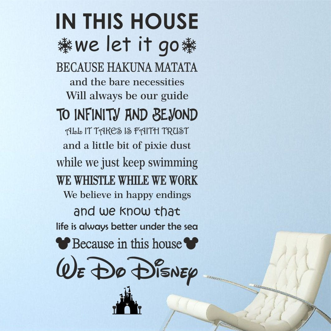 we do disney with castle wall quote art sticker decal home
