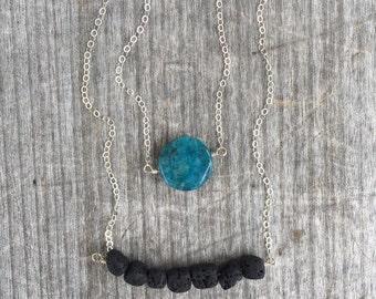 Silver Jaspar Lava Layering Set - Blue Jaspar Necklace - Black Lava Necklace - Black Lava Bar - Gift for her - Gift Set - Stocking Stuffer