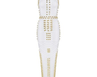 ELLE Sleeveless Beaded Lux Gown Bandage dress