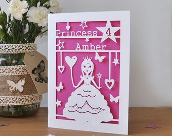 Personalised Childs Princess Birthday Card - Handmade Paper Cut - 5x7 Inches