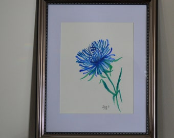 Aster Original Watercolor Painting