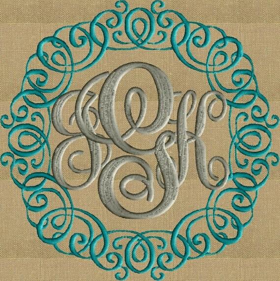Victoria font frame monogram embroidery design not