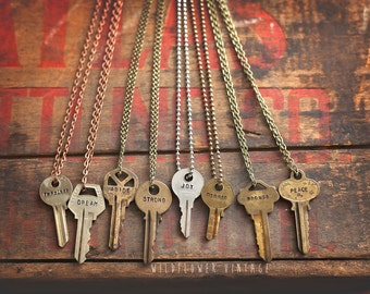 Key Necklace MANY FONT/CHAIN choices! | Hand Stamped Vintage Repurposed Giving Gifting Script lowercase