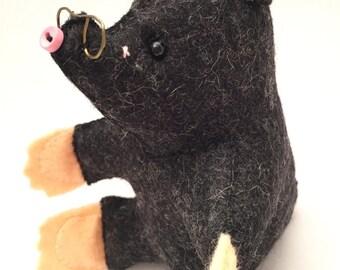 Handmade Mr Mole (Wind in the Willows) - 100% Wool Felt