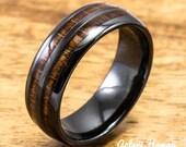 Ceramic Ring with Hawaiian Koa Wood (6mm - 8 mm width, Barrel Style)