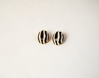 80s Black And White Striped Enamel Earrings, Vintage Zebra Striped Stud Earrings