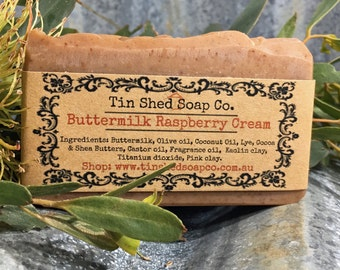 Buttermilk Raspberry Cream Handmade Soap with Shea and Cocoa Butters. Made in Australia.