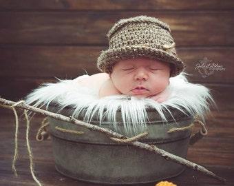 Newborn Fisherman Hat and Fish Prop - Baby Boy Props - Newborn Tweed Bucket Hat - Fishing Hat Set - Newborn Fishing Hat with Fish -