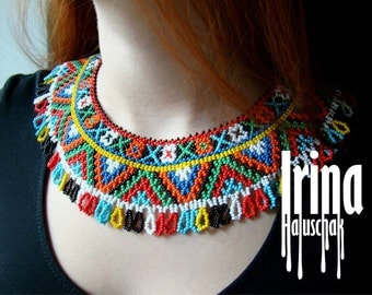 Ukrainian traditional necklace. Beaded collar. Silyanka. Gerdan. Силянка