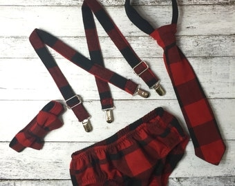 Buffalo Plaid Diaper Cover and suspenders- lumberjack Birthday, buffalo plaid boys tie, buffalo plaid bow tie, flannel boys Christmas outfit