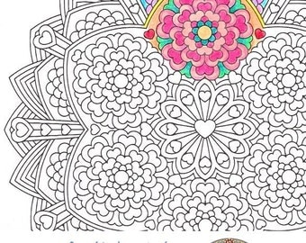 Mandala Coloring Page Flower Epiphany printable art to