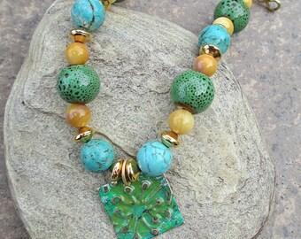Turquoise Howlite Beaded Bracelet, Patina Charm Bracelet, Handknotted Bracelet, Gold Bead Bracelet, Green Ceramic Bracelet, Yellow Glass