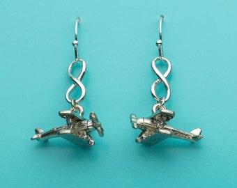 Propeller Plane Earrings, Prop Plane Earrings, Airplane Earrings, Biplane Earrings, Infinity Earrings, Dangle, Gifts for Her, 294, 464