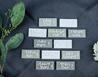 Tile Place Cards, Glass Tile Escort Cards, Calligraphy Tiles