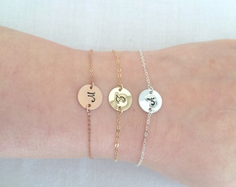 Personalized Disc Bracelet, Graduation Gift, Initial Bracelet, 14K Gold Filled, Sterling Silver, Rose Gold, Birthday Gift, Baby Bracelet
