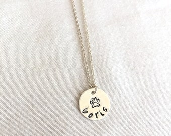 Pet Lover Necklace, Paw Necklace, Dog Lover, Memorial Necklace, Pet Lost, Sterling Silver Disc, Gold Fill Disc, Rose Gold,  Pet Lover Gift