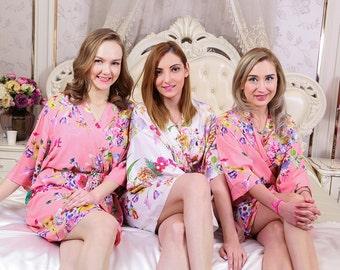 I03340 Cheap bridesmaid robe kimono embroidered bathrobes robe satin junior bridesmaid floral robe short robe bridal robes to get ready in