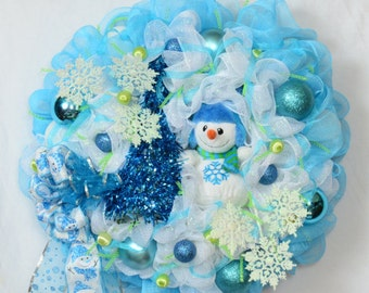 Winter Holiday Snowman Christmas Mesh Wreath