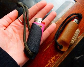 Lighter holsters and keychains with hemp wick