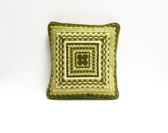 Retro needlepoint pillow | 1970s geometric throw pillow | lime green, chartreuse, olive green | vintage modern accent