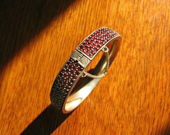 Antique Victorian Rose Cut Bohemian Garnet Hinged Bangle Bracelet ~ Bohemian Garnet Jewelry ~ Antique Victorian Garnet Jewelry