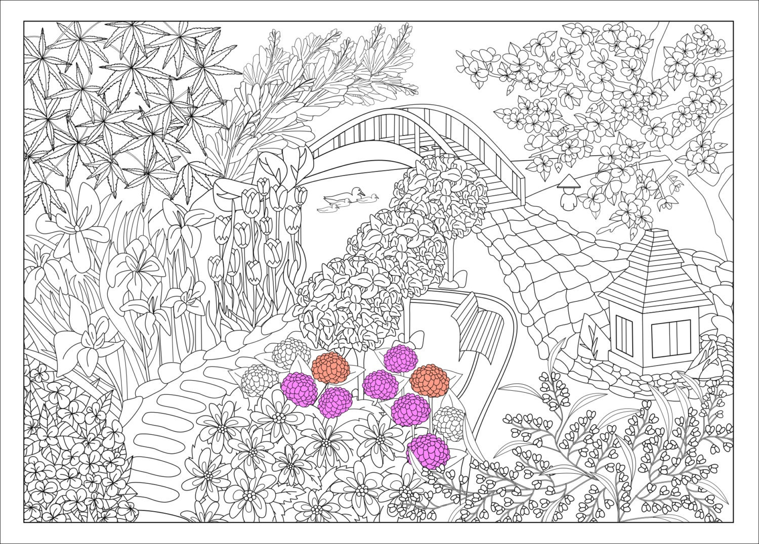 japanese garden coloring pages - photo #12