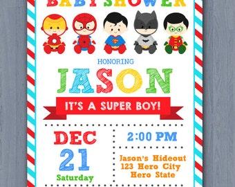 Superhero Baby Shower Invitation, Super baby shower invitation, super baby invitation, superhero baby shower