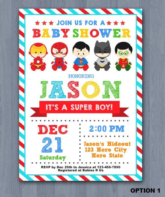 superhero baby shower | etsy, Baby shower invitations