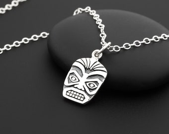 Tiki Necklace, Tiki Mask, Hawaiian Necklace, Polynesian Tribal, Hawaiian Gifts, Beach Themed Jewelry, Polynesian Necklace, Hawaii Souvenir,
