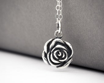 Rose Flower Necklace, Silver Rose Necklace, Sterling Silver Rose Necklace, Rose Charm Necklace, Rose Pendant Necklace, Rose Flower Jewelry