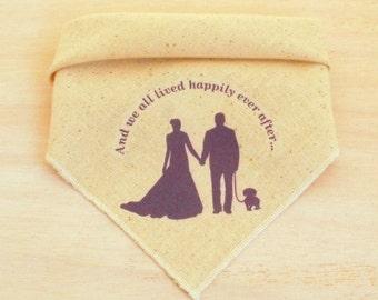 Wedding Dog Bandana - Rustic Wedding Bandana with Labrador Retriever, Dachshund or Terrier