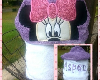 Girl Mouse Hooded Towel with FREE Embroidered Name