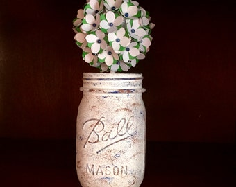 Rustic Green&White Paper Hydrangea Bouquet With A Blue Straight Pin! Hand-Painted Mason Jar!