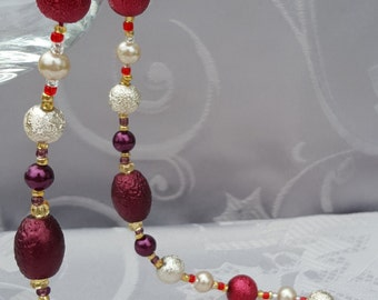 Red and White Necklace with Free Earrings