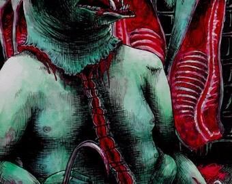 """Art Print - Pig Monster 4x6"""" Horror , Dark"""