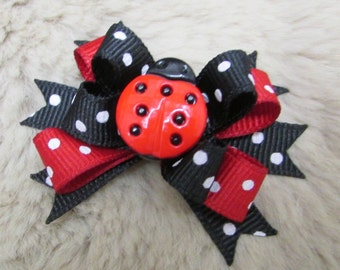 "USA Dog Bow - 2"" Lady Bug boutique dog bow - red and black polka dot"
