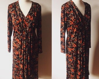 Vintage Autumnal Rose Print Tunic Dress - UK Size 16 -18/US Size 12 -14