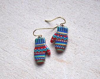 Mittens earrings, Winter jewelry, Christmas jewelry, Gloves earrings, Colorful earrings, Handpainted earrings, Winter gift FREE SHIPPING