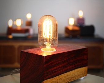 Wood Block Lamp with Vintage bulb - Two Tone