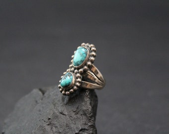 Sterling Silver and Turquoise Old Pawn Native American Navajo Ring