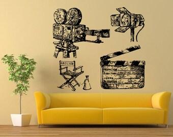 Wall Vinyl Sticker Decals Mural Room Design Pattern Art Decor Video Camera Lamp Light Movie bo2231