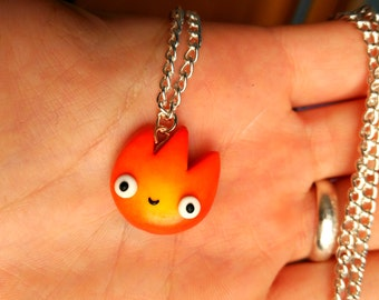 Calcifer Necklace or Keychain Howl's Moving Castle Kawaii Fire Studio ghibli