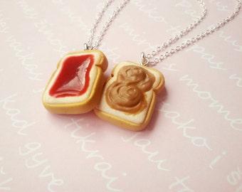 BFF Peanut butter & jelly necklace, best friend keychain, minature food jewelry, kawaii pendant, best friend necklace, friendhip necklace