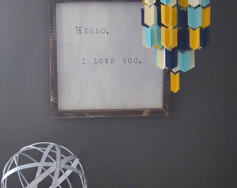 Blue, Cream and Mustard Aztec Arrow Paper Mobile Chandelier