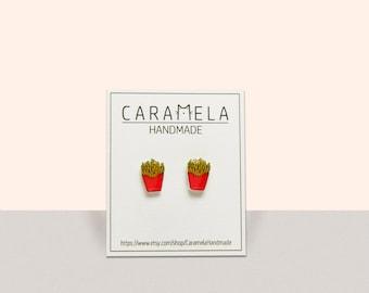 French Fry Stud Earrings Fry Jewelry Miniature Junk Food Earring Fast Food Jewelry Gift Idea